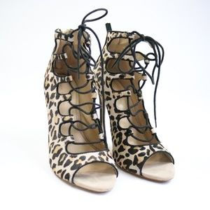Zara Leopard Print Lace Up Ankle Boots - Sz.40